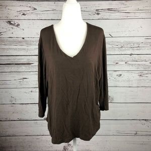 Taylorbrooke Brown V-Neck 3/4 Sleeves T-Shirt Top